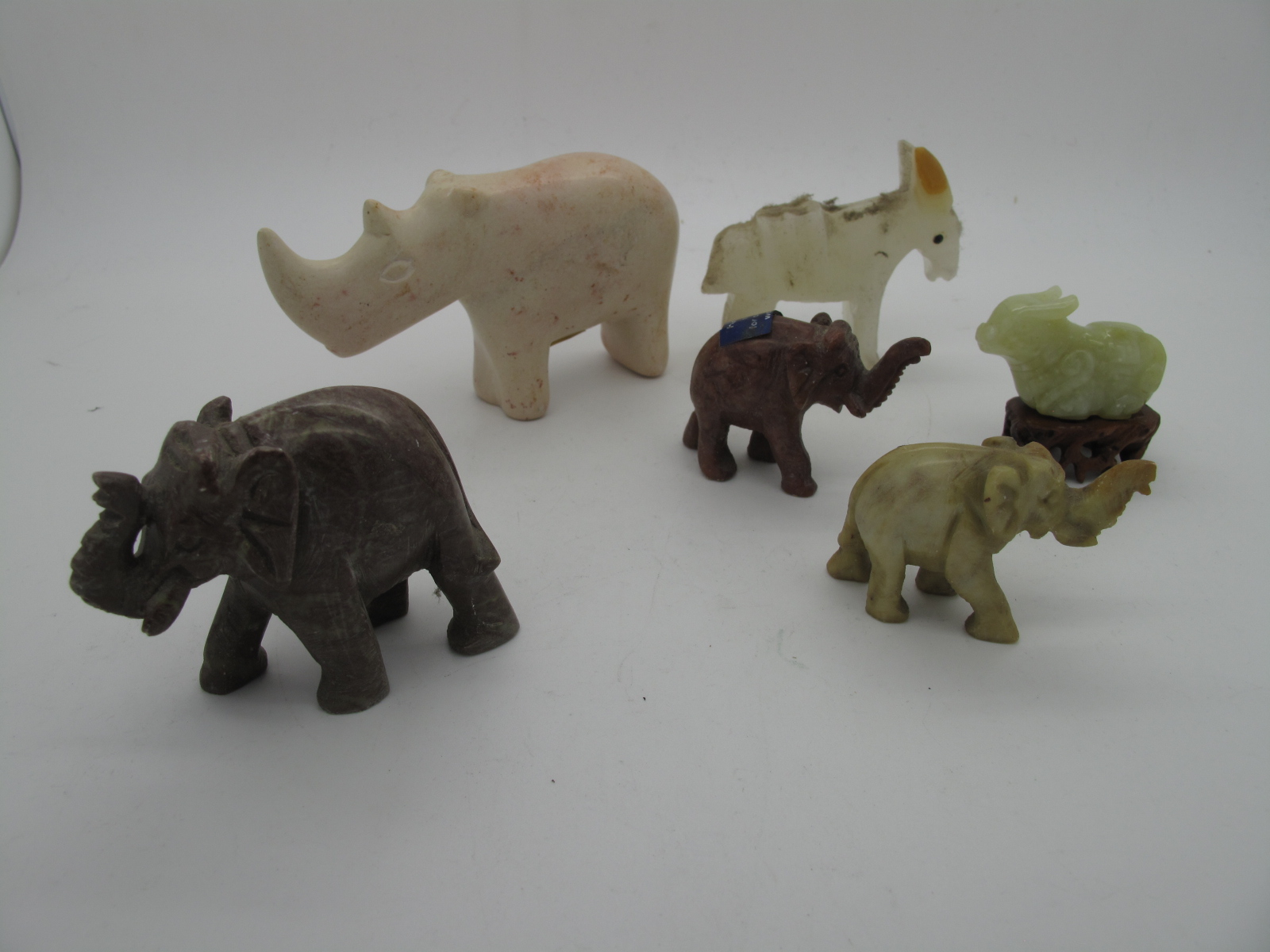 A Carved Mineral Figures of Animals, Chinese style glass figure of a bearded sage, etc:- One Tray - Image 2 of 6