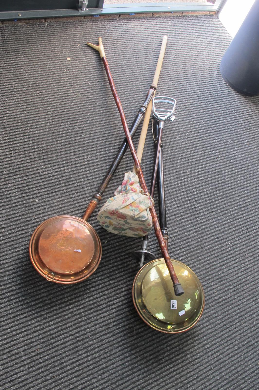 Copper and Brass Warming Pans, posser stick cans, game bird shooting stick.