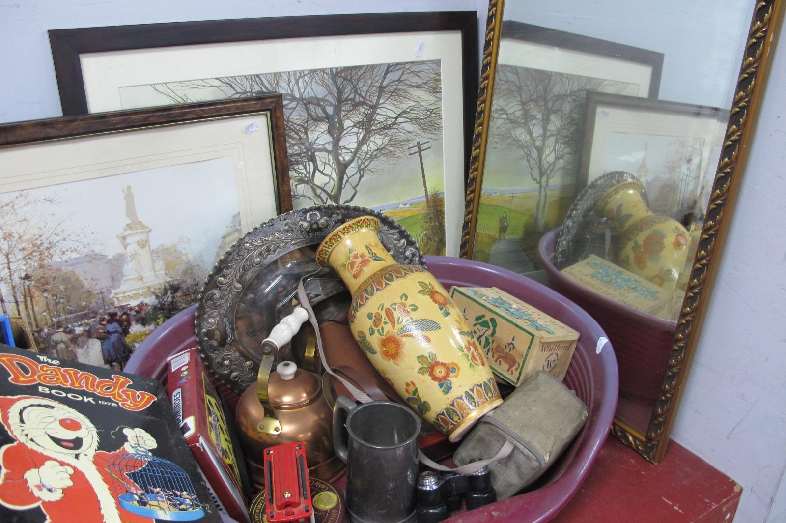 Mirror, three prints, camera's, copper kettle, dominoes, etc.