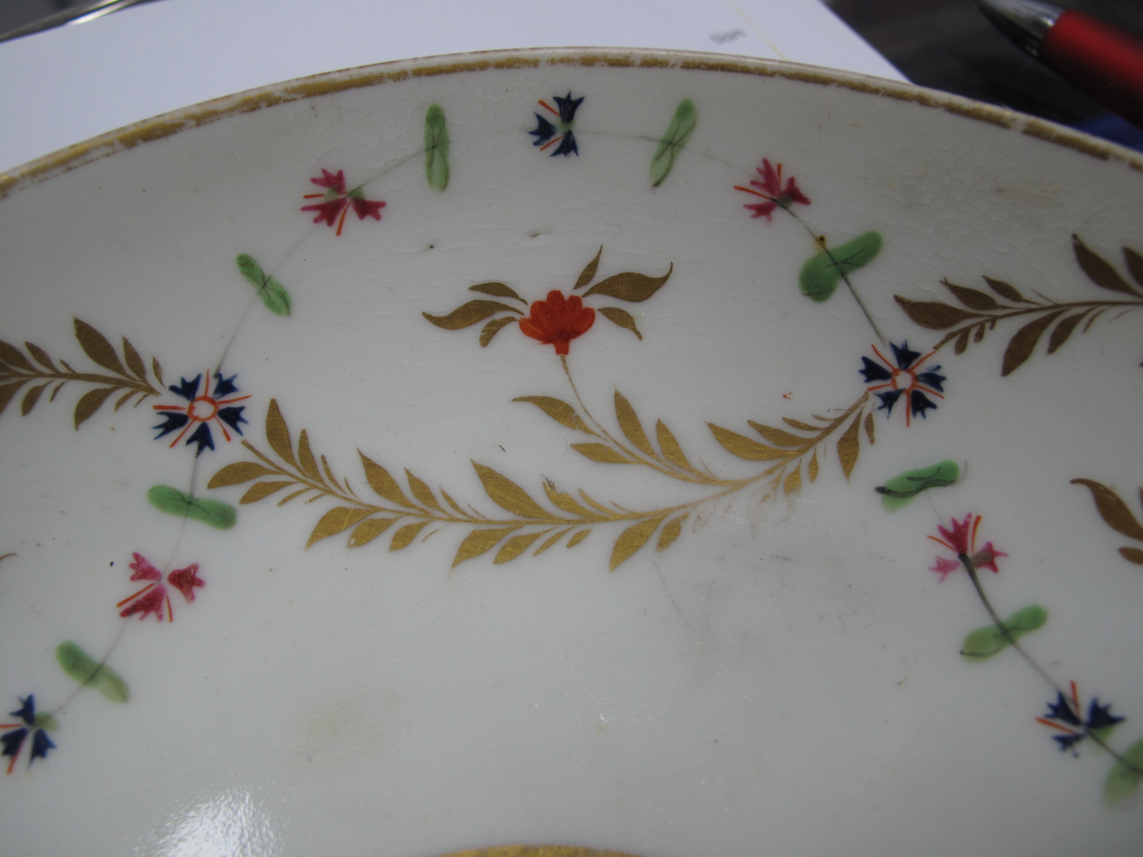 Crown Derby XIX Century Sucrier, three plates, cup and saucer in gilt with pink roses, other XIX - Image 7 of 9