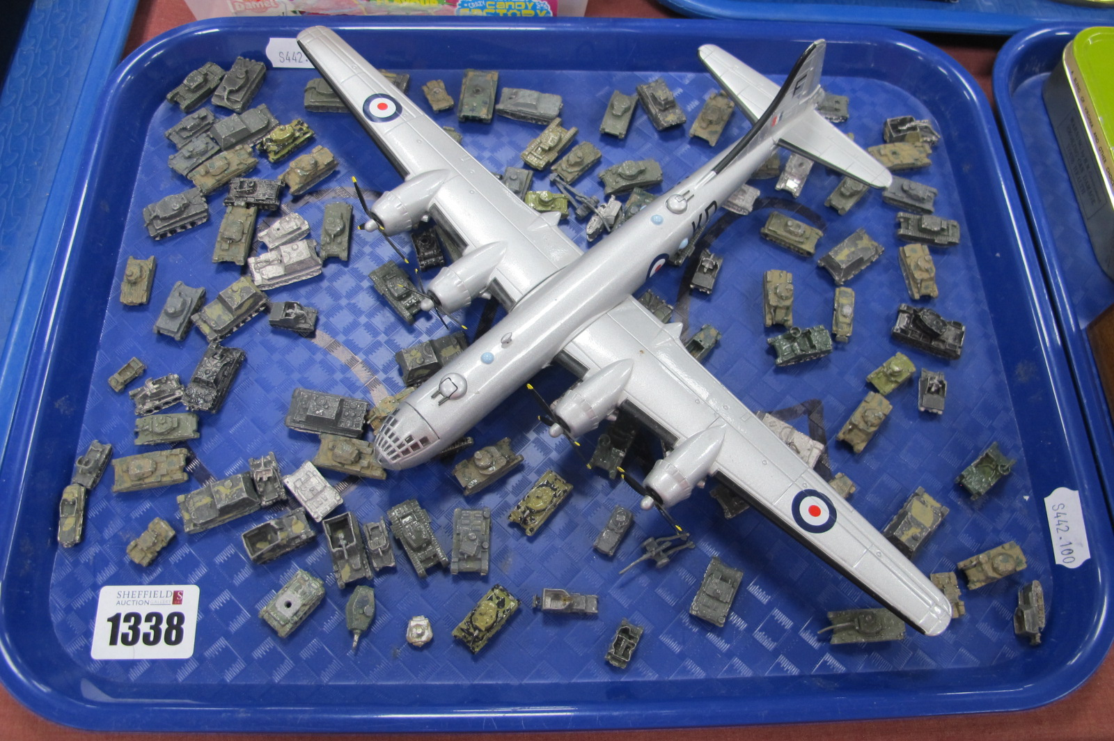 A Collection of War Gaming Miniature Tanks, (playworn); a Corgi model Boeing B29 :- One Tray