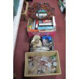 Antique Reference Books, mirror, jug, glassware, light shade, etc:- Three Boxes