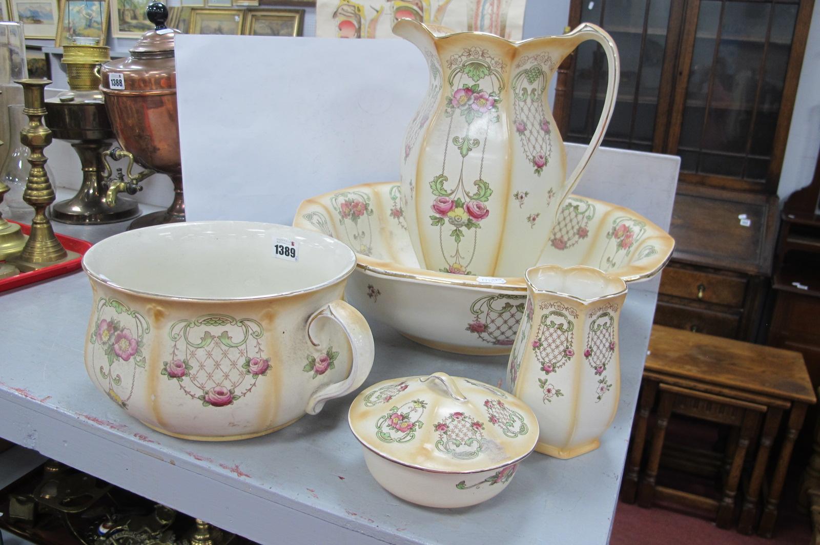F & Son, Preston Wash Bowl Set, of five pieces.