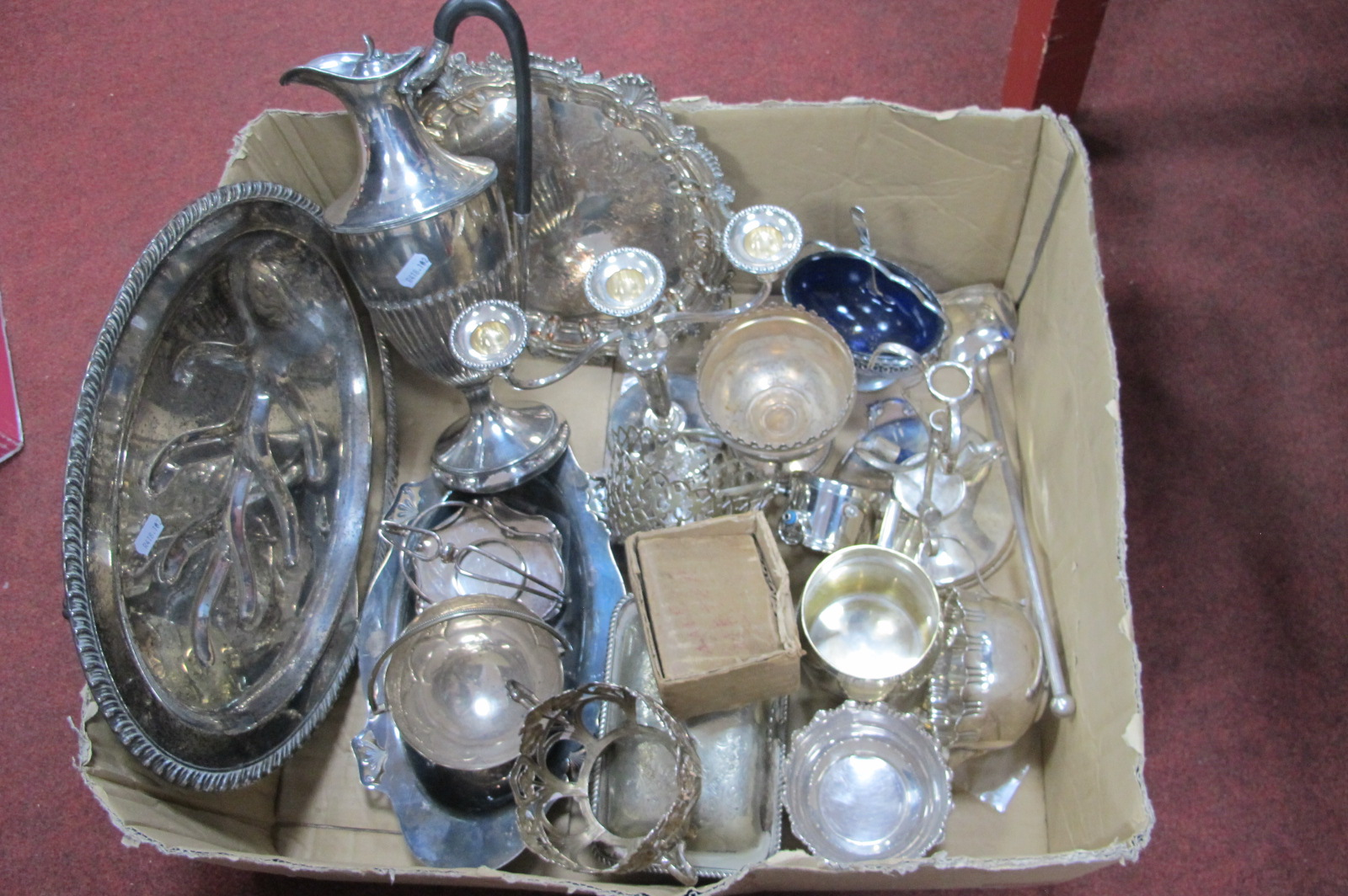 """Assorted Plated Ware, including plated on copper waiter, later engraved """"Bradford Moor Golf Club"""