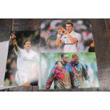 Football Autographed Photographs, of Paul Gascoigne, Gareth Bale and Luis Figo, approximately 20 x