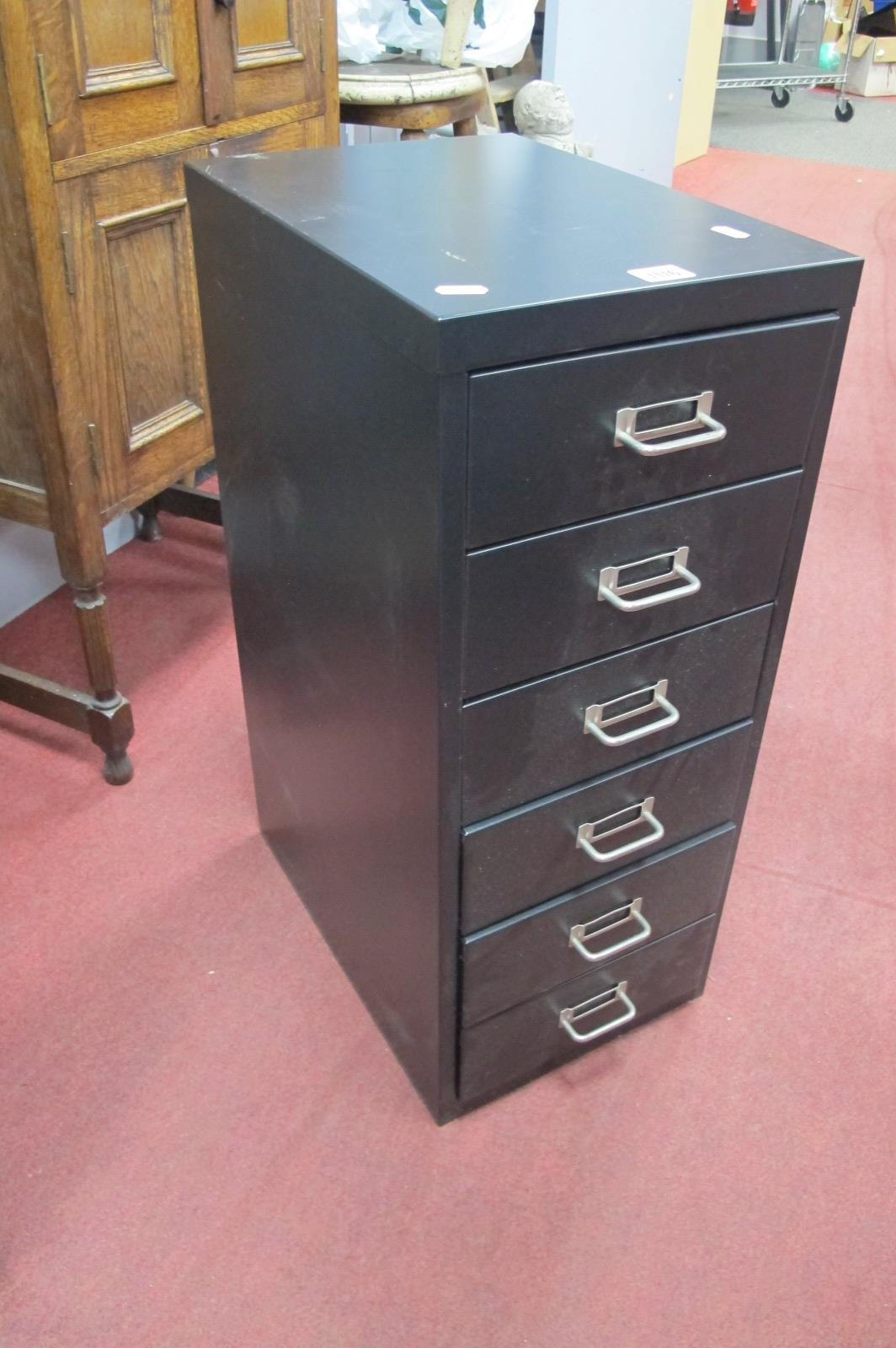 A Metal Office Filing Chest of Six Drawers, 67cm high x 28 wide.