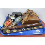 Wray 8 x 3 Binoculars, opera glasses, truncheon, enamel badges, etc;- One Tray.