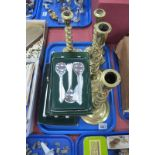 Viners Studio Stainless Steel Cutlery, having bark effect handles, two pairs of brass candlesticks:-