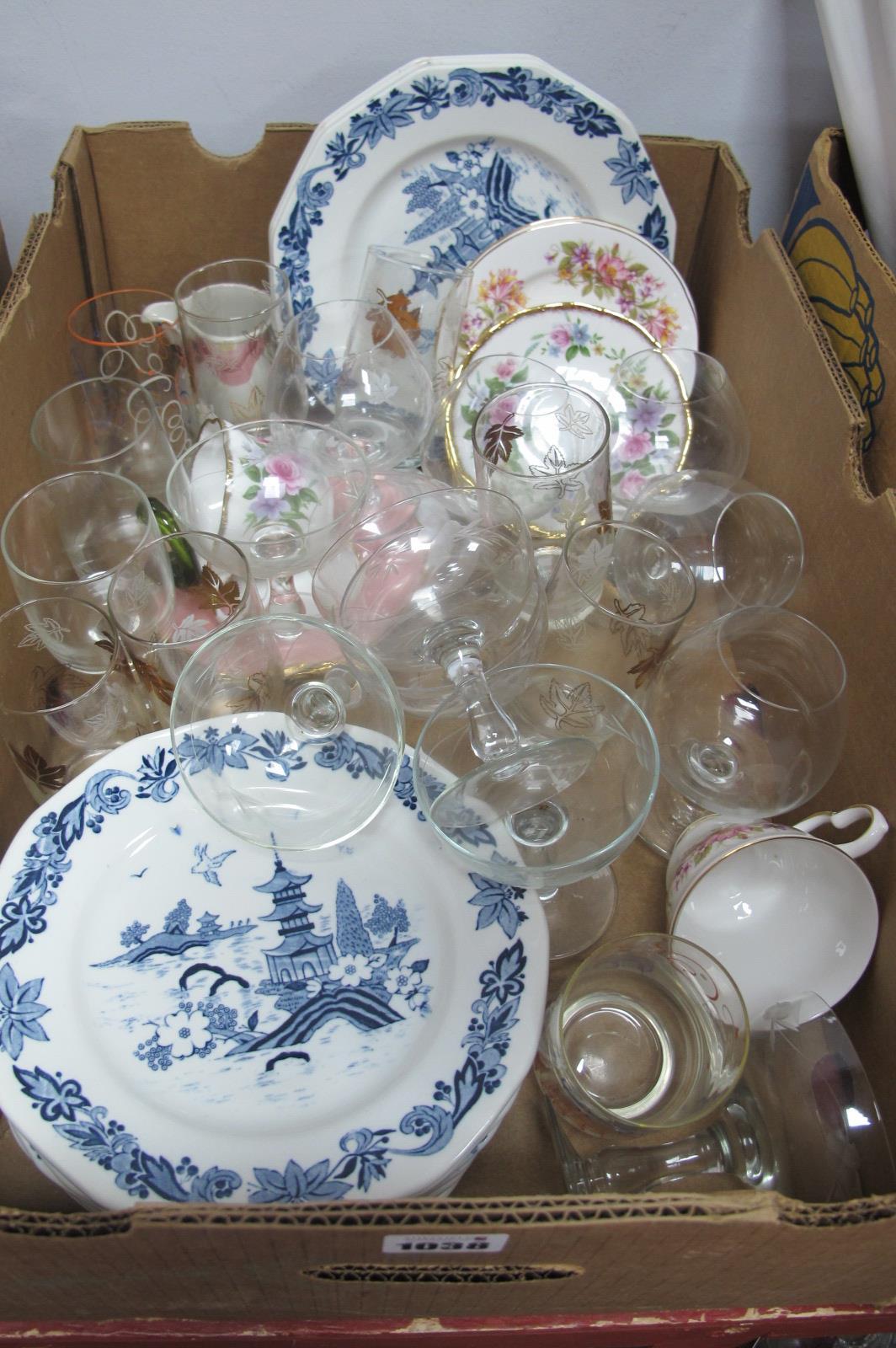 Glassware, blue-white plates etc:- One Box
