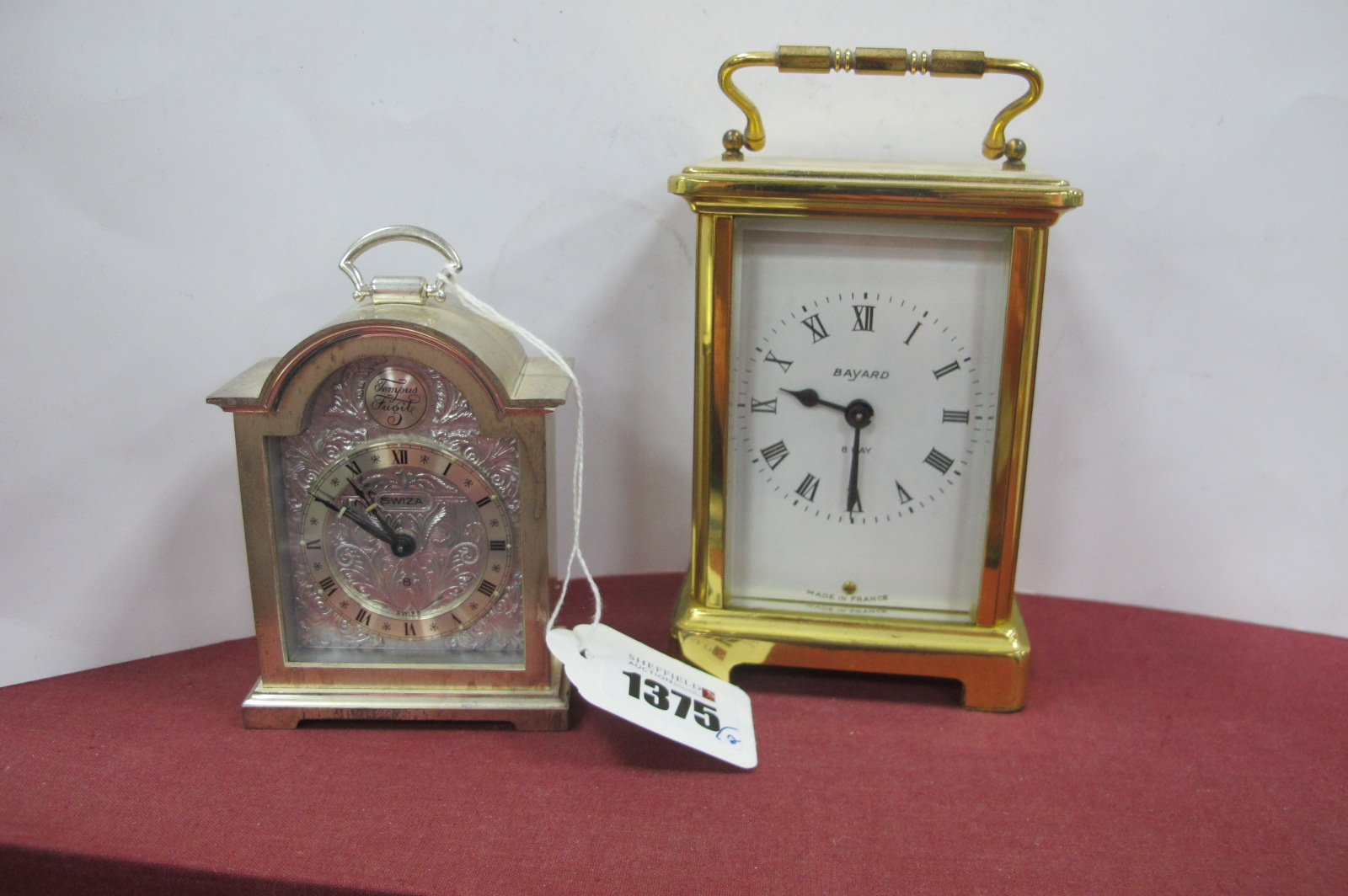 Bayard Brass Cased Carriage Clock, having eight day movement, 12cm high with handle down, Swiza