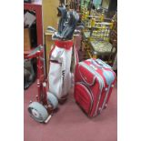 Howson Golf Clubs, balls, etc, in bag and Stowaway trolley, plus Liquin suitcase.