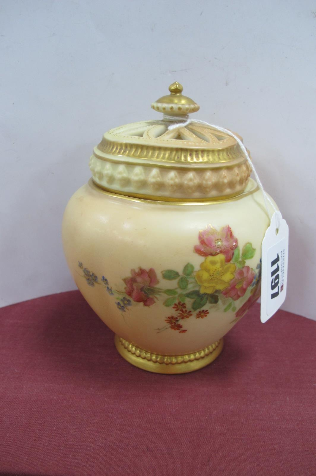 Royal Worcester Pot Pourri, circa 1900 hand painted with colourful flowers and foliage on blush