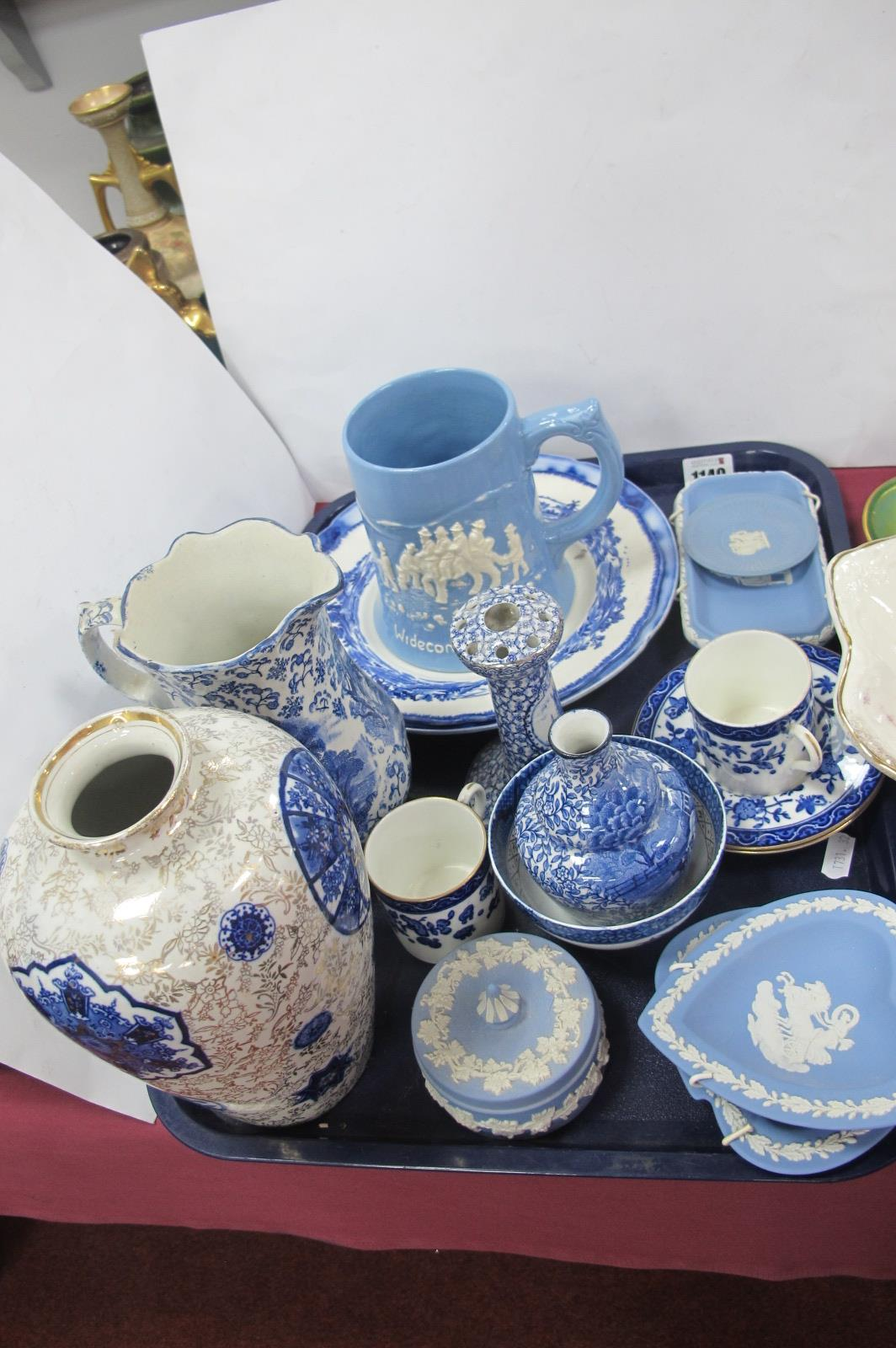 Wedgwood Jasper, Dartmouth Widecombe Fair, Lincoln hat pin stand, other blue and white ceramics:-