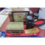 An Oak Westminster Chimes Mantle Clock, Prinz 16 x 50 Binoculars, tin box, dominoes, etc:- One