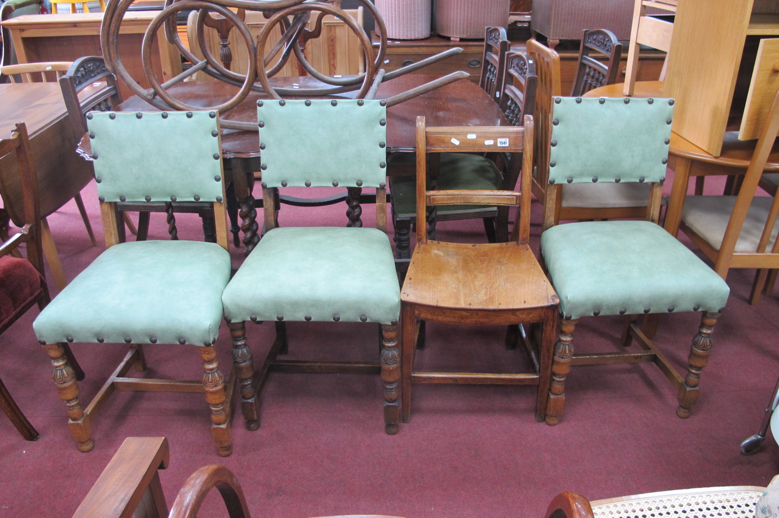 Three 1920's Oak Dining Chairs, with carved, turned and block legs, two others. (5).