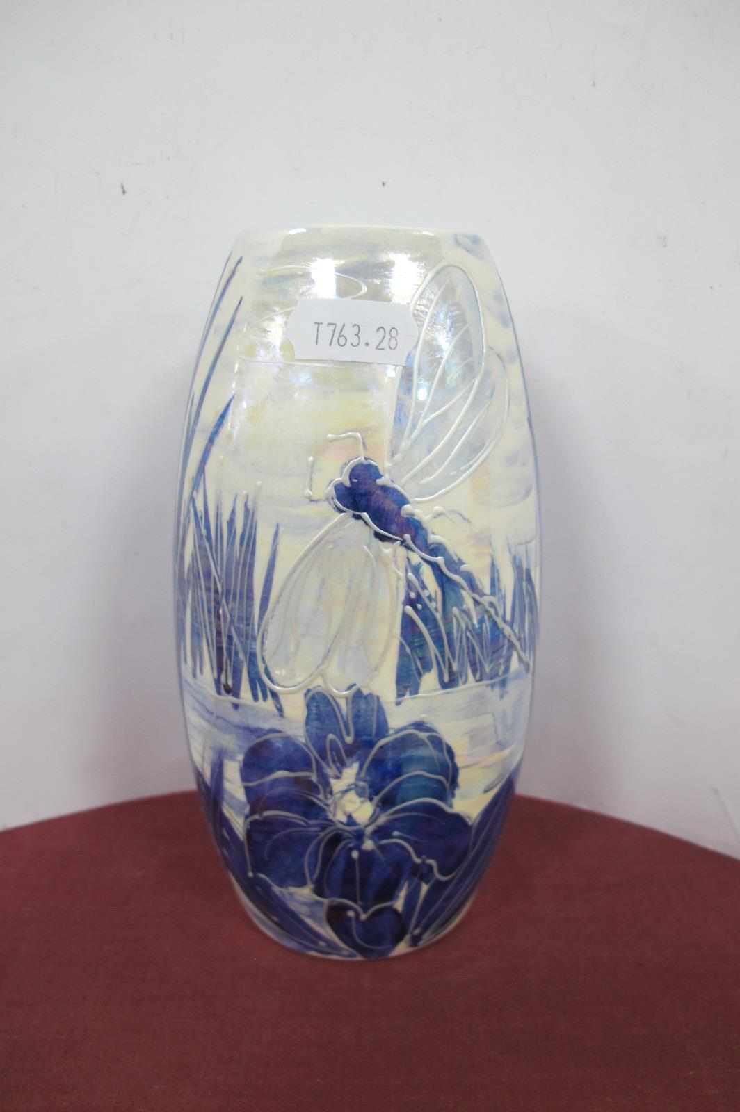 An Anita Harris Blue and White Lustre 'Dragonfly' Vase, gold signed, 17.5cm high.