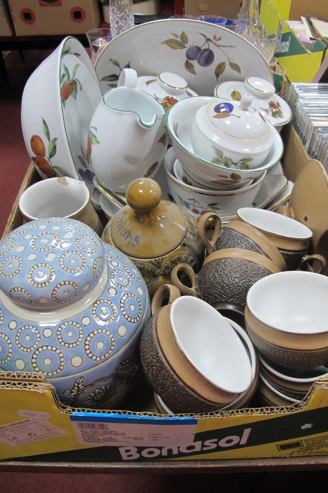 Royal Worcester 'Evesham' Table Pottery and Storage Jars, Denby 'Cotswold' pottery, ginger jar:- One