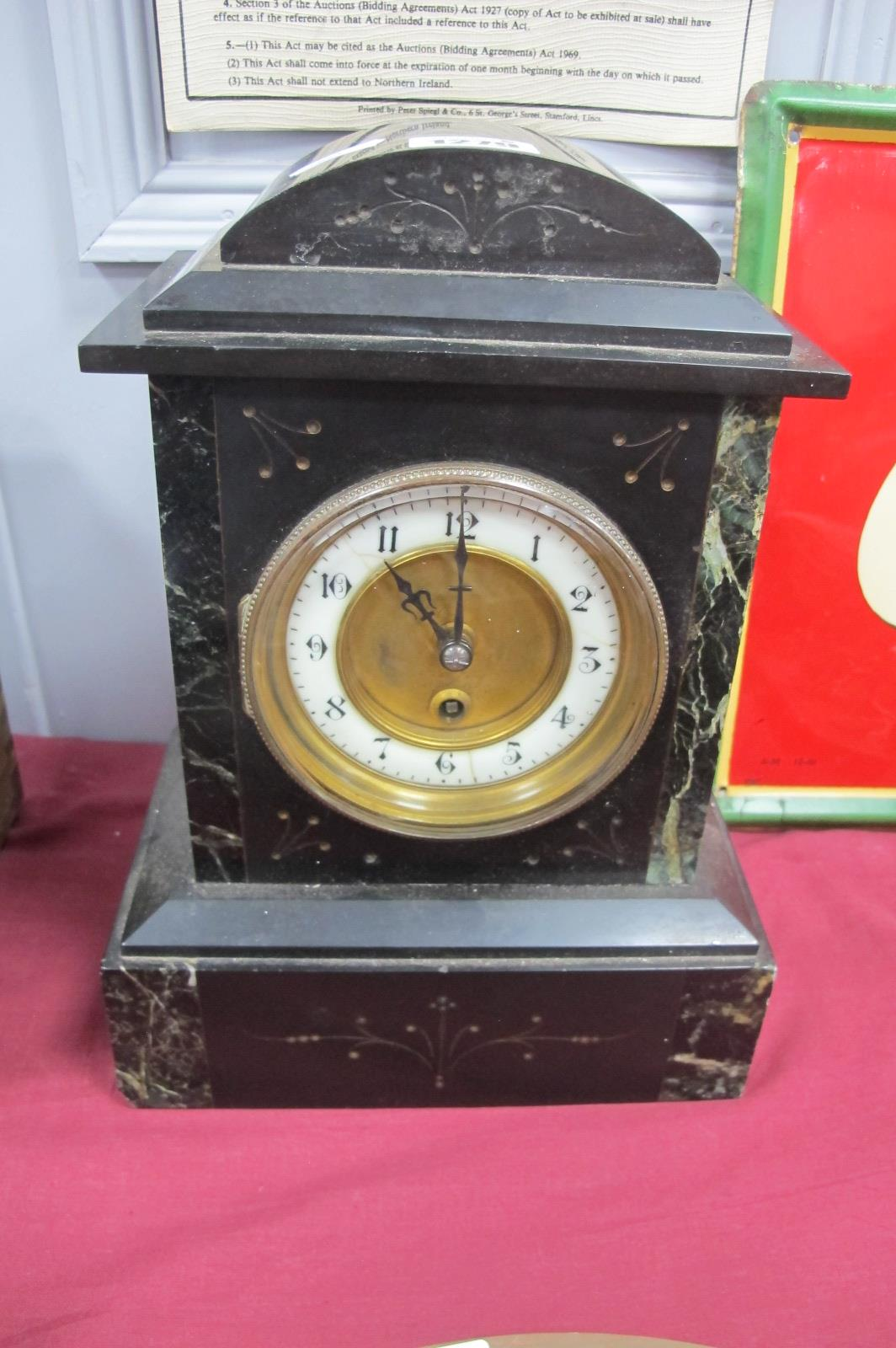 XIX Century Black Slate and Green Marble Cased Mantle Clock, with dome top, thirty hours movement,