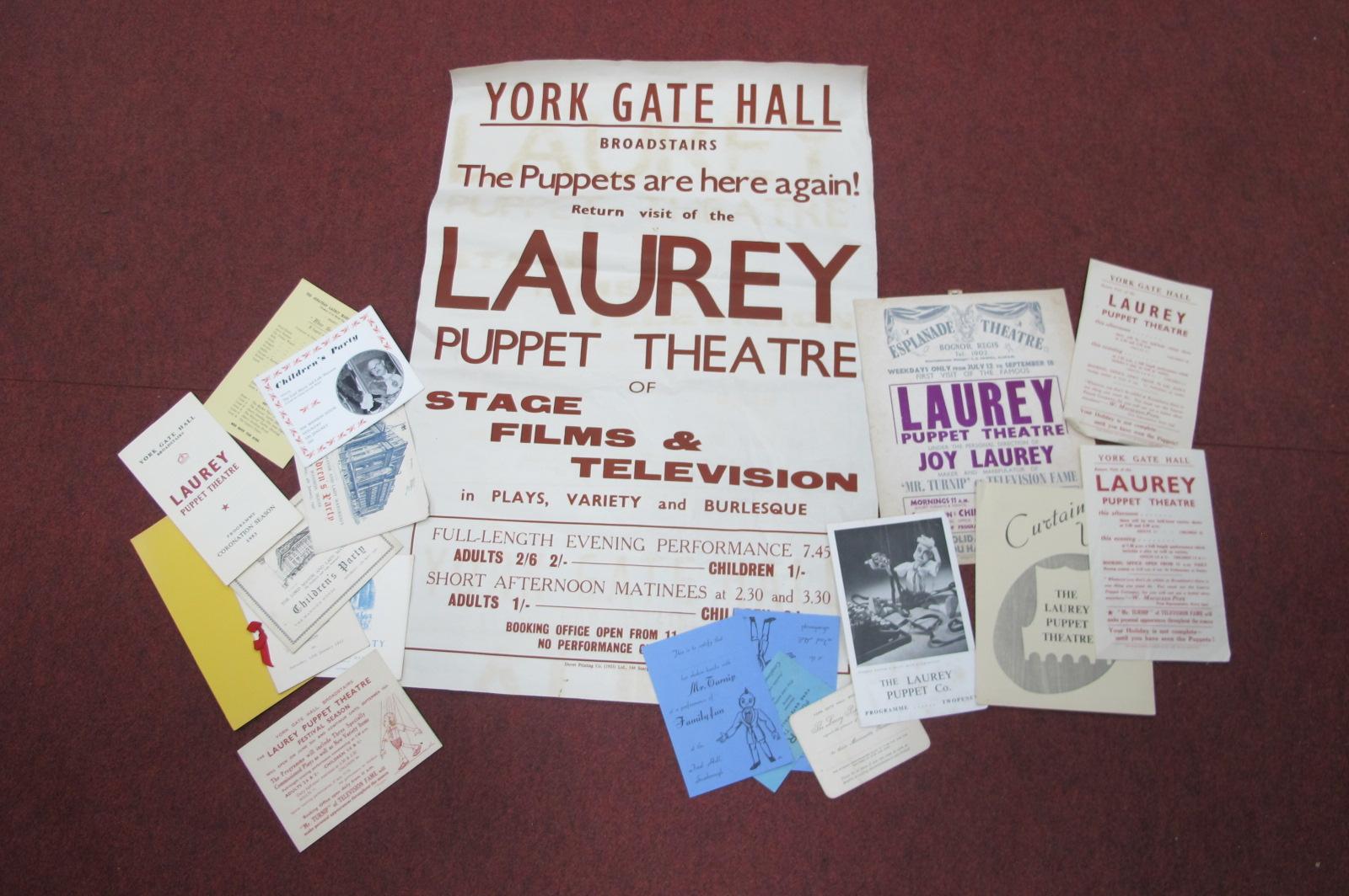 Puppets - selection of original poster fliers, programmes, etc including Laurey.