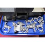 Royal Hampshire Silver Plated Animals, including owl, 9cm high, rabbit 7.5cm. (9)