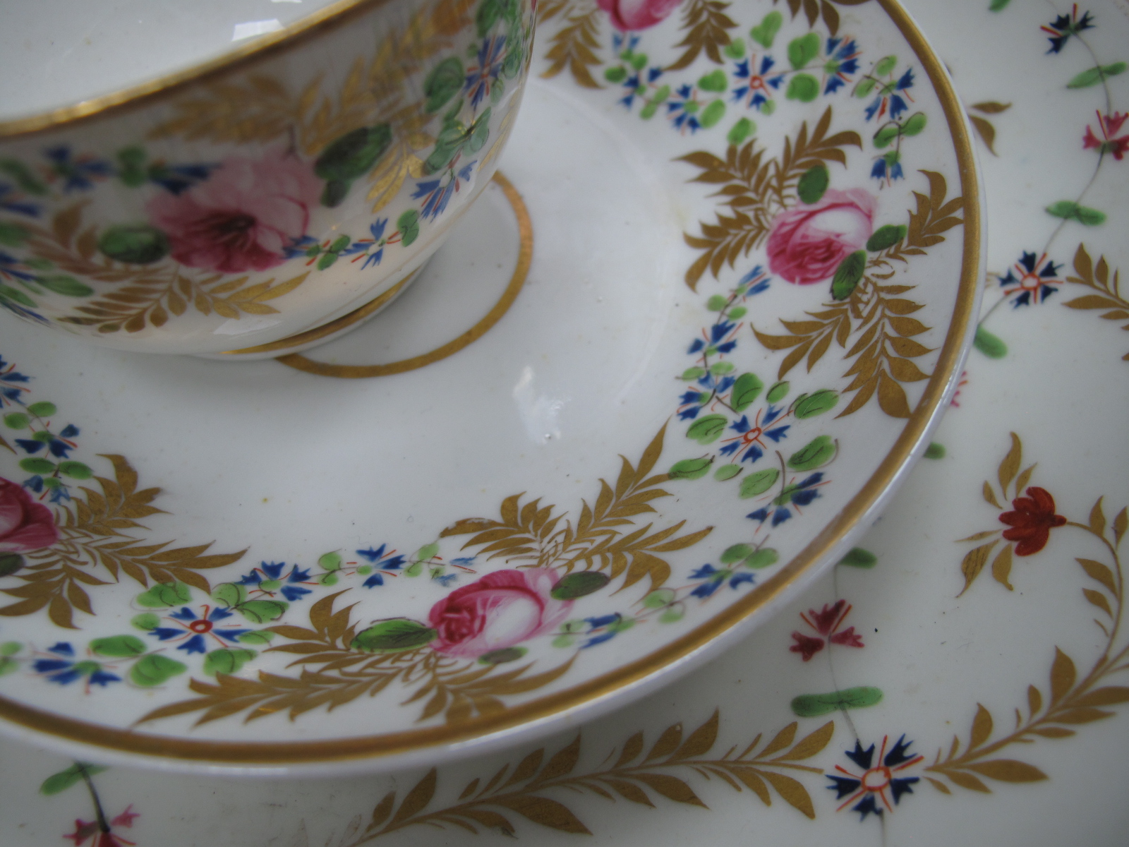 Crown Derby XIX Century Sucrier, three plates, cup and saucer in gilt with pink roses, other XIX - Image 3 of 9