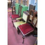 An Early XX Century Child's Parlour Armchair, with poker work carved cresting, on turned legs,