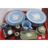 Wedgwood Jasper Ware Plates, in powder blue (15), other trinkets in varying colours:- One Tray.