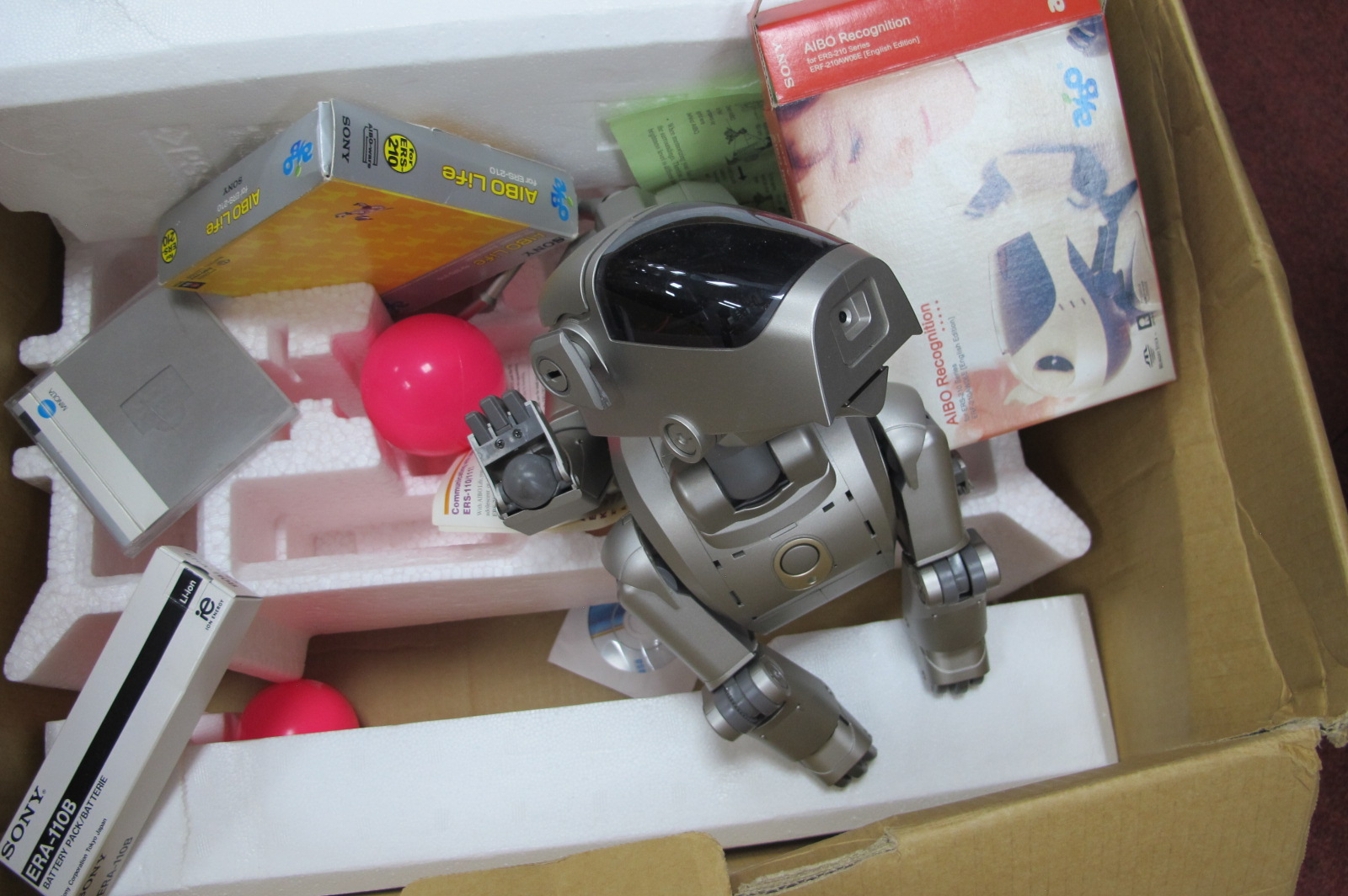 SonyAibo Life ER9 - 110/111 Entertainment Robot, in grey with beagle like appearance circa 1999,