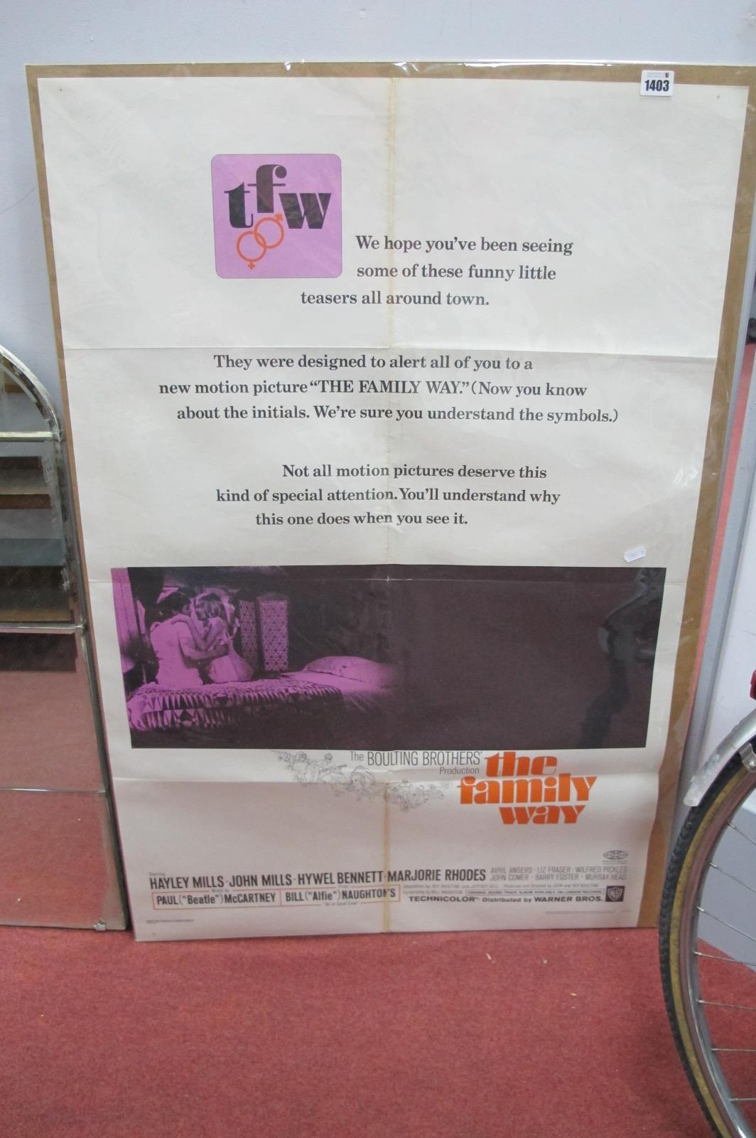 Film Posters 'The Family Way' starring Haley Mills, John Mills, Hywel Bennett 104.5 x 68.5cm.