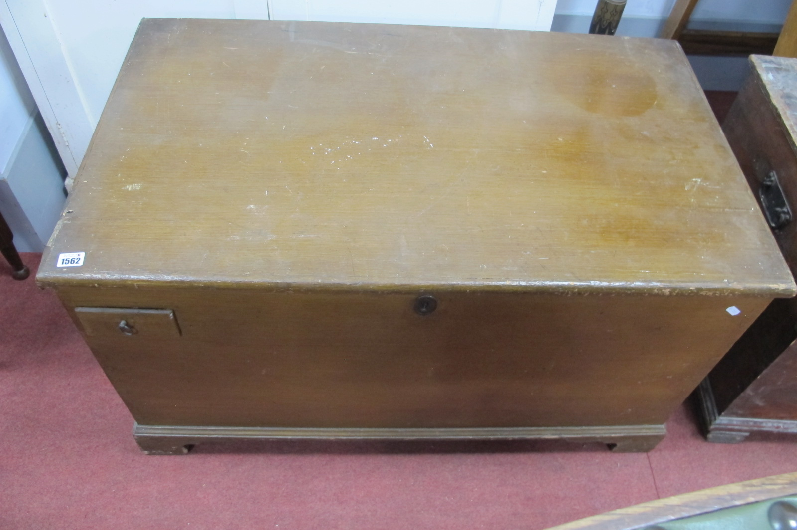 A XIX Century Painted Pine Blanket Box, with single drawer to exterior, straps to interior, 100cm