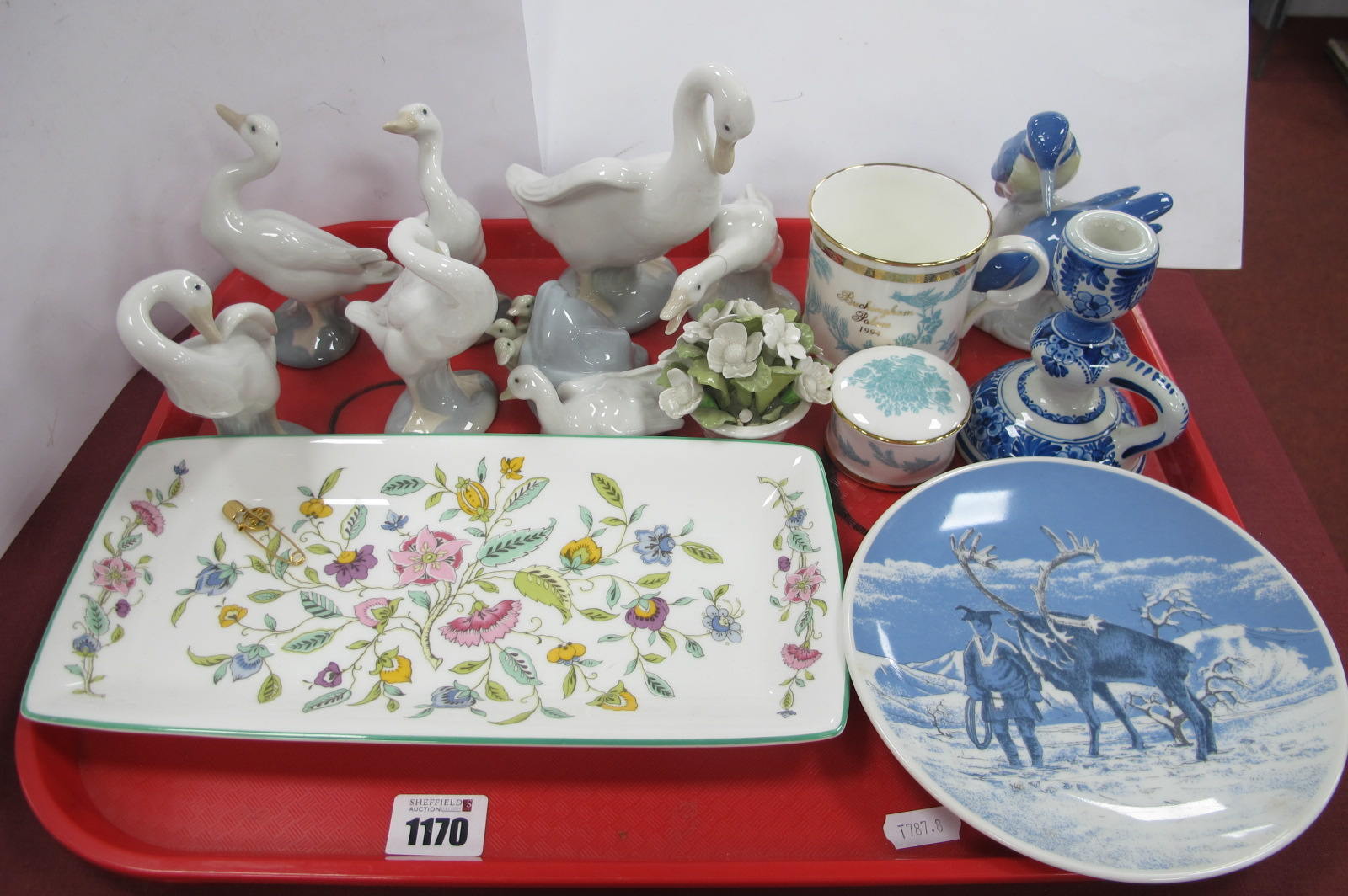 Lladro, Nao and Other Geese, Minton 'Haddon Hall' rectangular dish, Porsgrund reindeer plates, etc:-