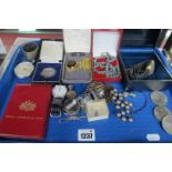 GSTP Military Pocket watch, Seiko gent's watches, coinage, silver medallion, etc:- One Tray