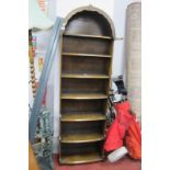 An Oak Free Standing Bookcase, circa 1970's with dome top and waterfall front, 54cm wide.