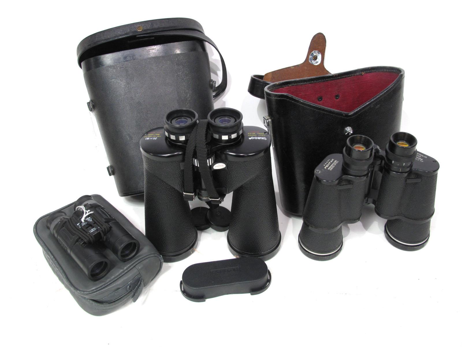 Binoculars Tasco Model No. 319, 20 x 60, fully coated in hard black case. Also Asahi Pentax 7 x 50
