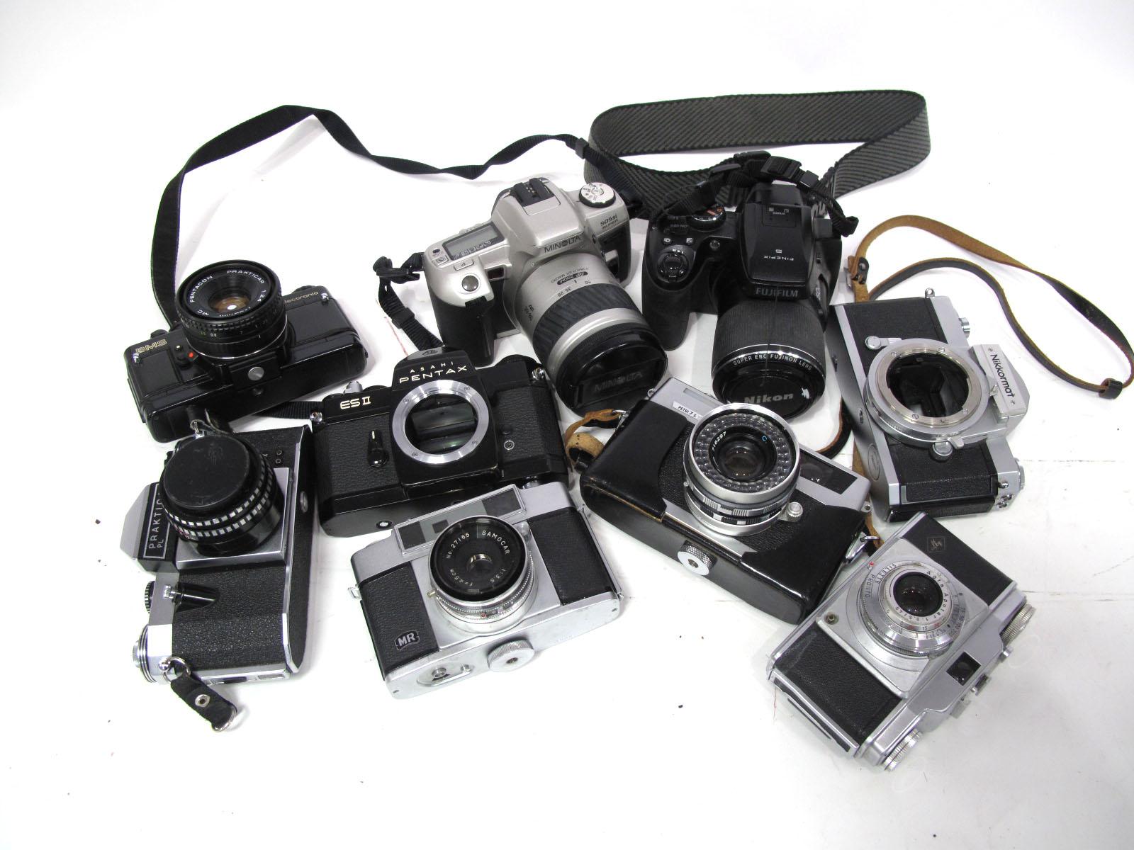Praktica Noval with Meyer-Optik Gorlitz 2.8/50 Lens, Praktica Electronic with Pentacon Praktica 1: