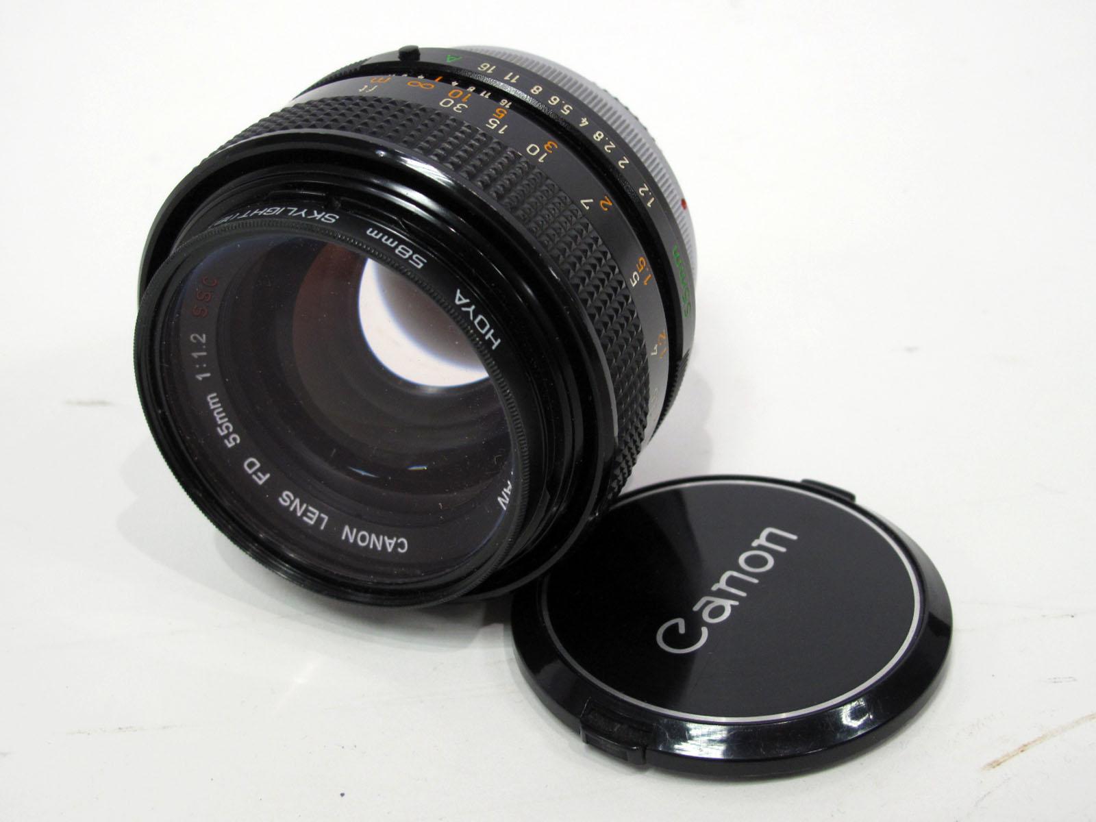 Canon Lens, FD 55mm 1:12 S.S.C. lens, in canvas case.