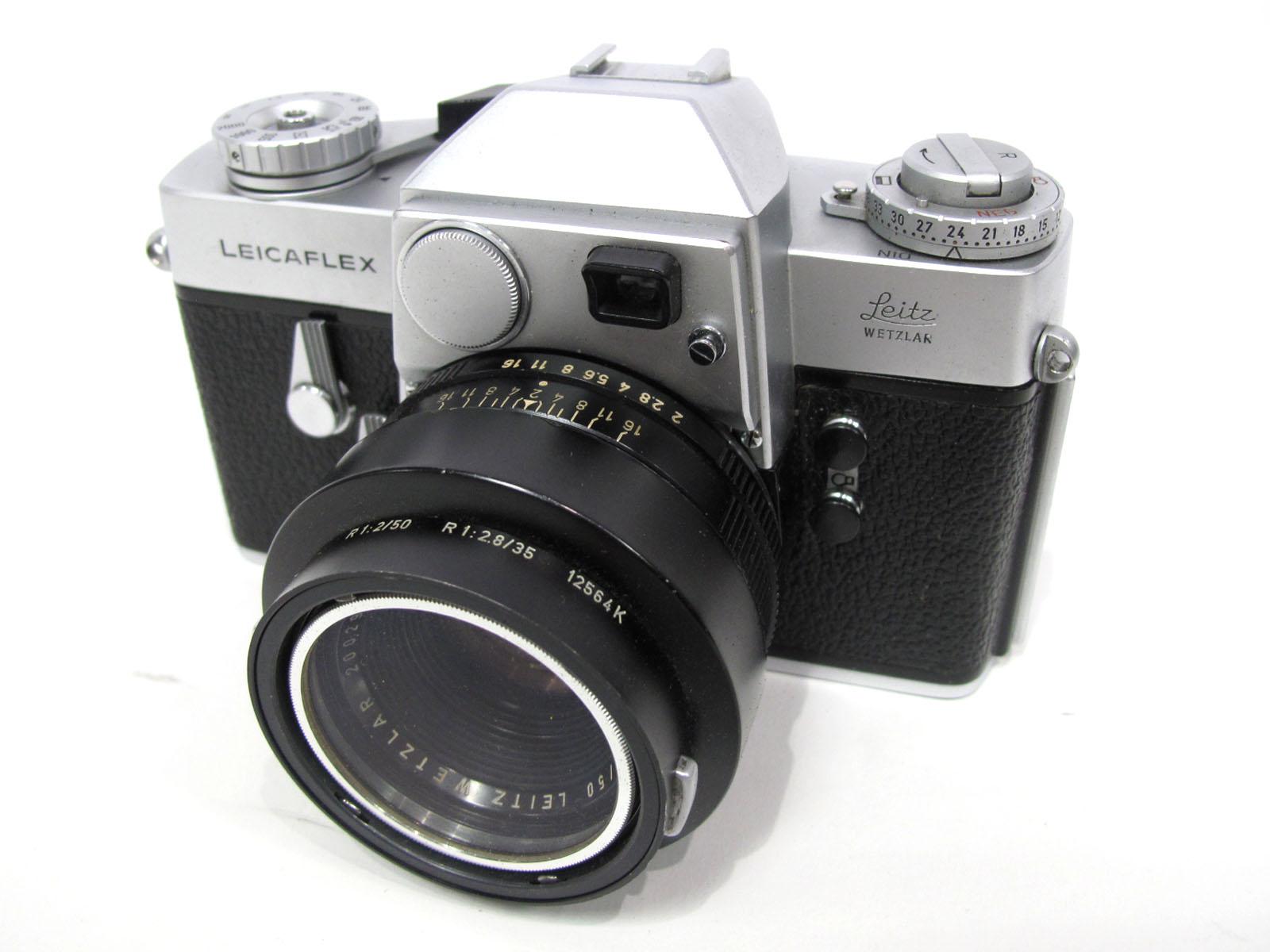 Leicaflex Manual Camera, with Leitz Wetzlar Summicron - R 1:2/50 lens in a black case.