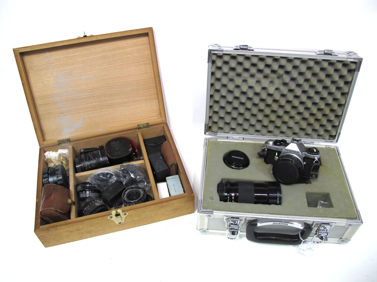 Pentax Camera M.E Super, with lens, Super Orion Skylight (1A) 67mm lens, Chinon Auto 50mm lens,
