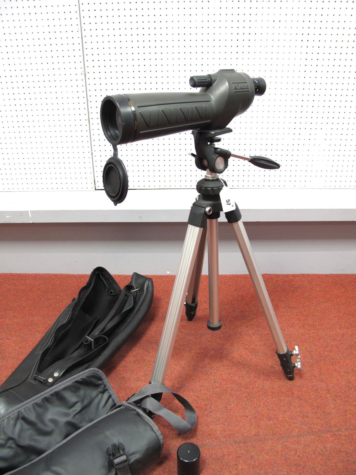Nikon Scope 15-45, in bag, plus tripod stand and bag.