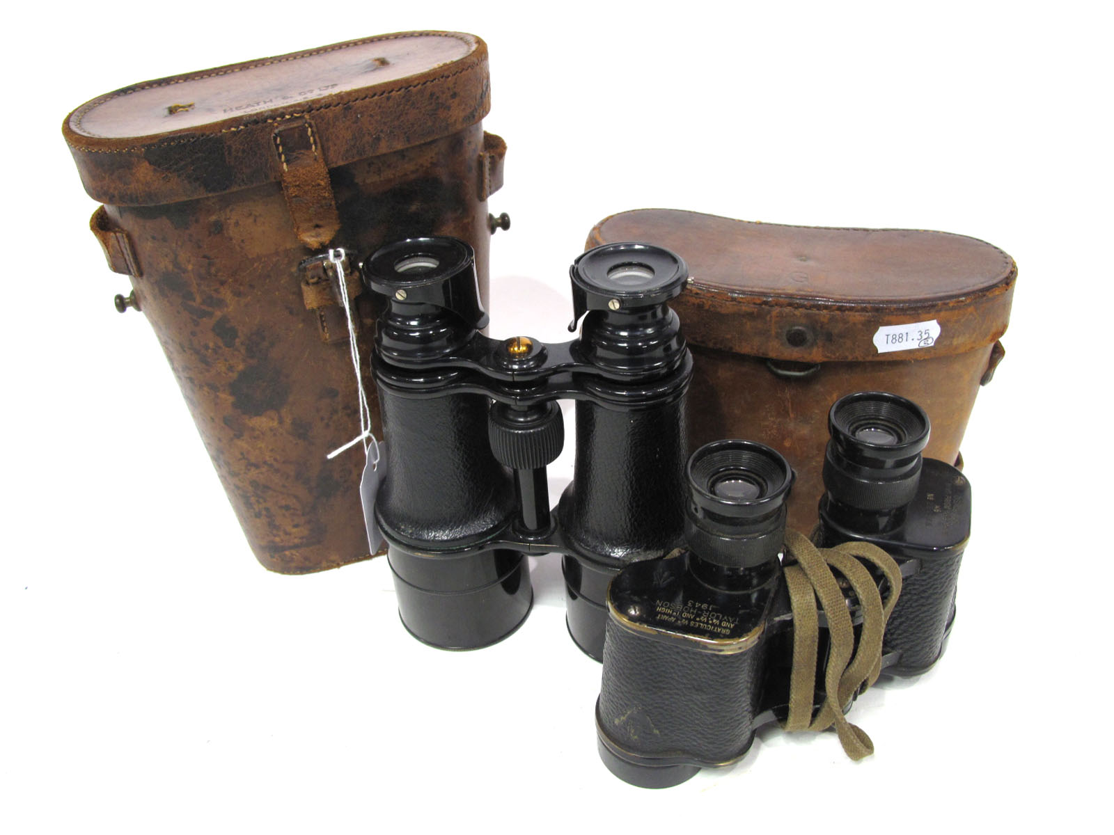 Binoculars Taylor - Hobson 1943 Military Graticules, ½ apart in brown leather case. Plus Heath and
