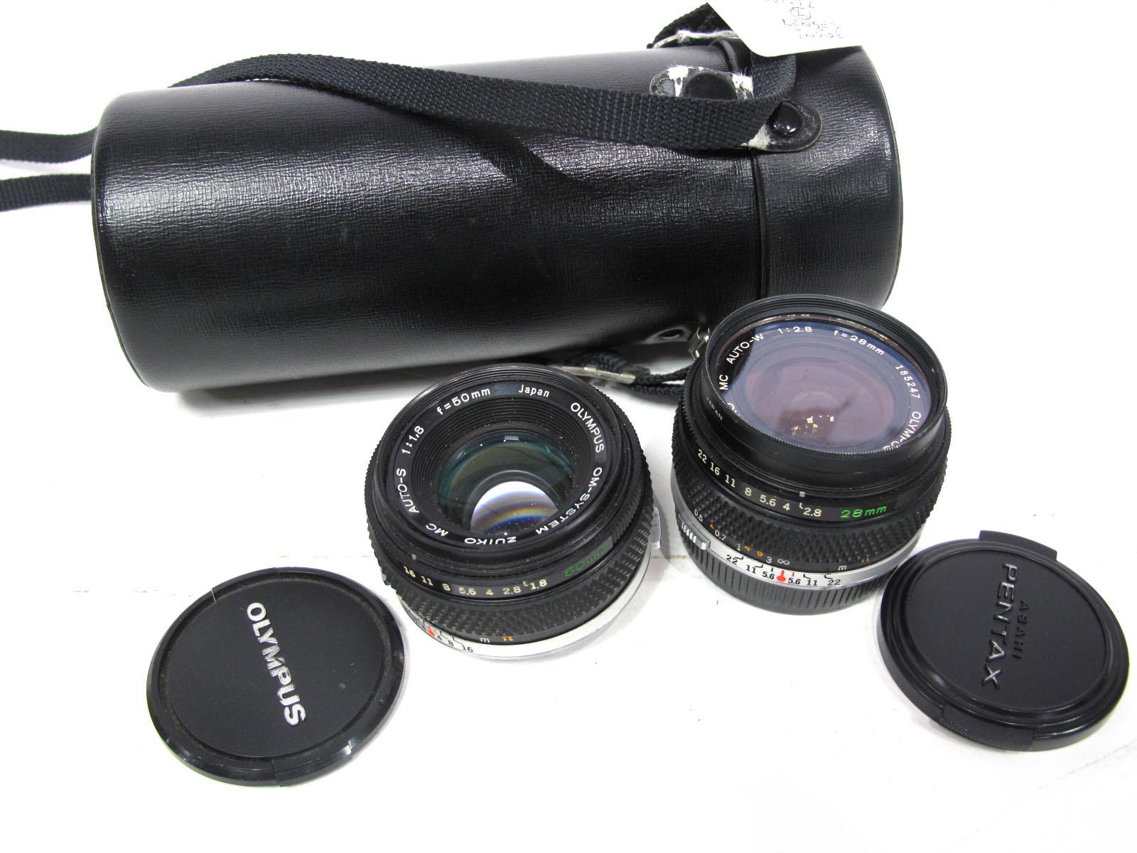 Olympus OM System, Zuiko Auto-S, f=50mm lens, Olympus OM System, Zuiko MC Auto-W 1-28 f=28mm lens,