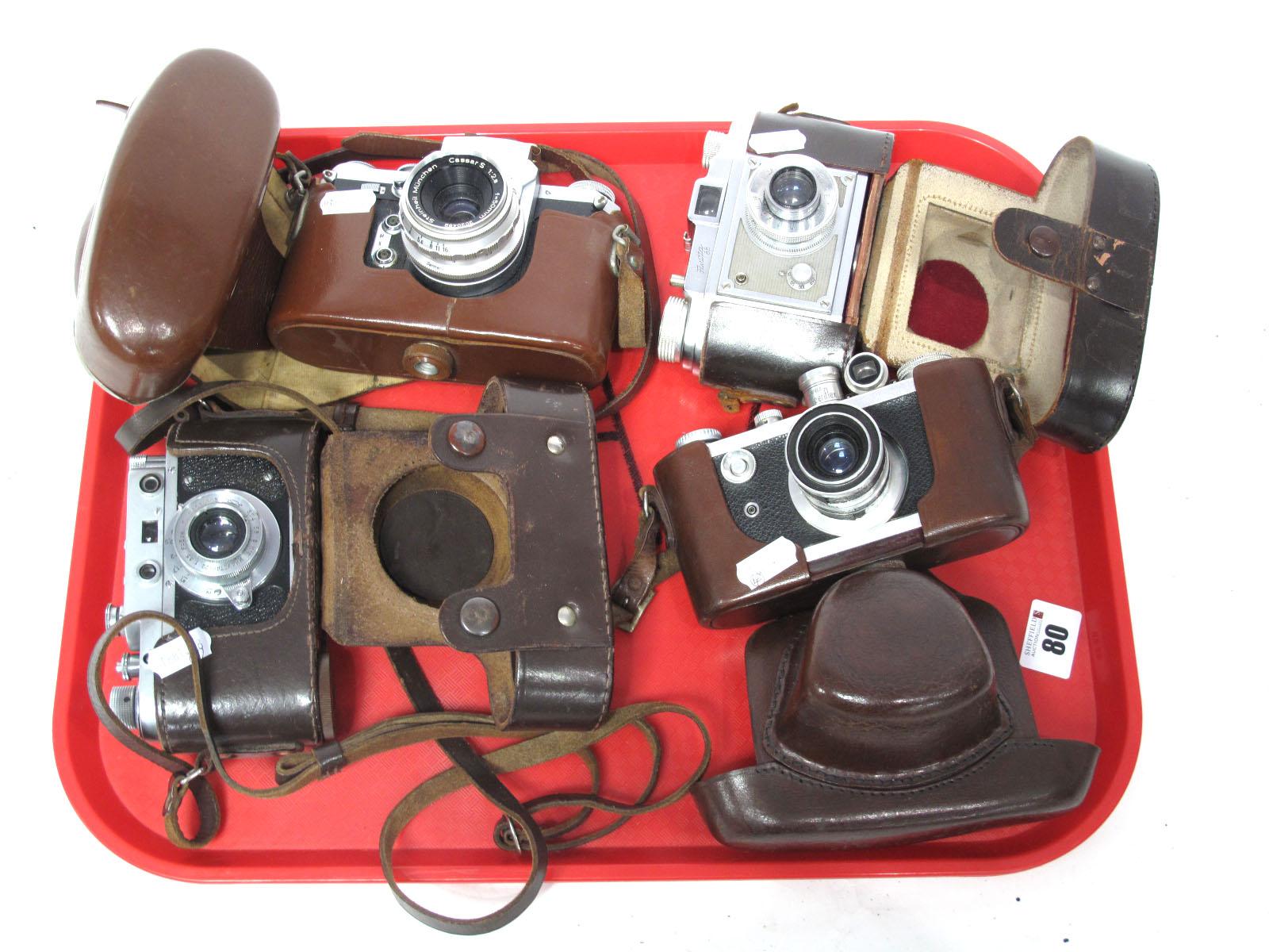 Saraber Goslar Finetta 88, Edika Flex, plus two other camera's in brown leather cases. (4)