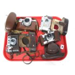 Saraber Goslar Finetta 88, Edika Flex, plus two other camera's in brown leather cases. (4)