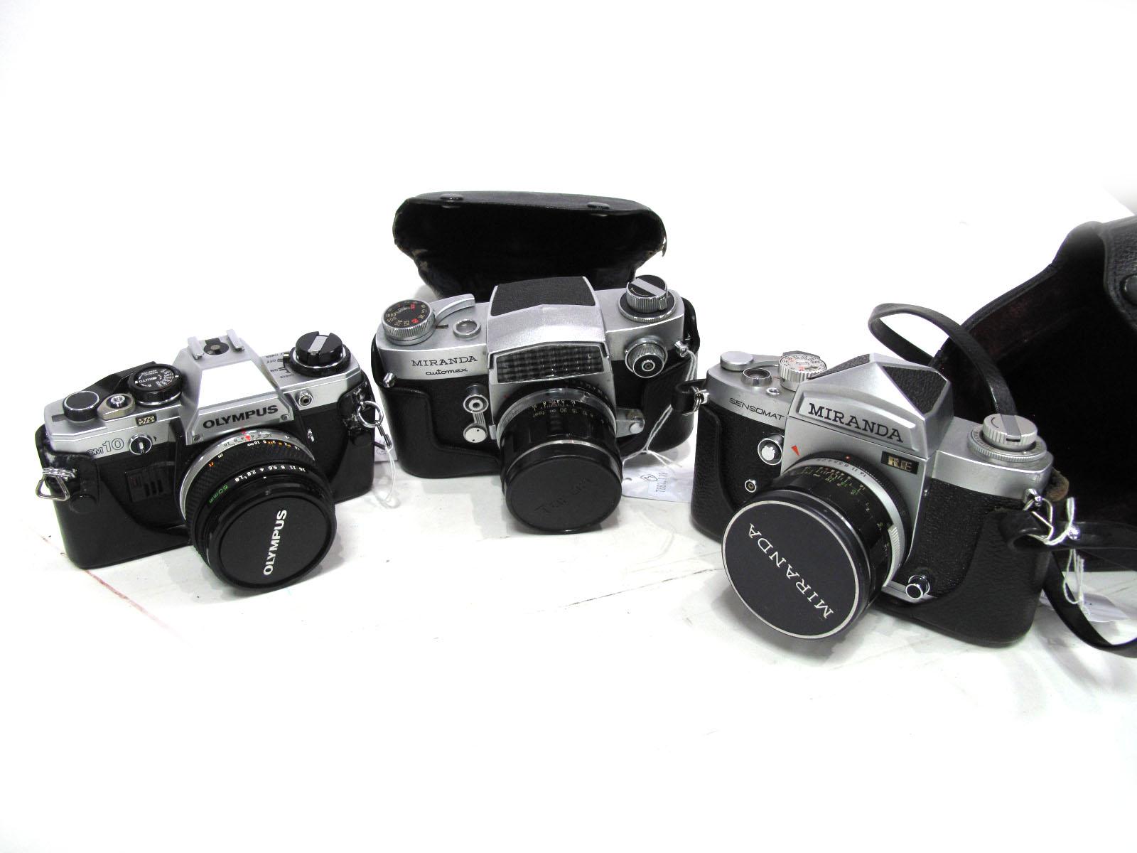 Olympus OM 10 Camera, with Zuiko Auto-S 50mm lens, Miranda Automex Camera with Miranda lens, Miranda