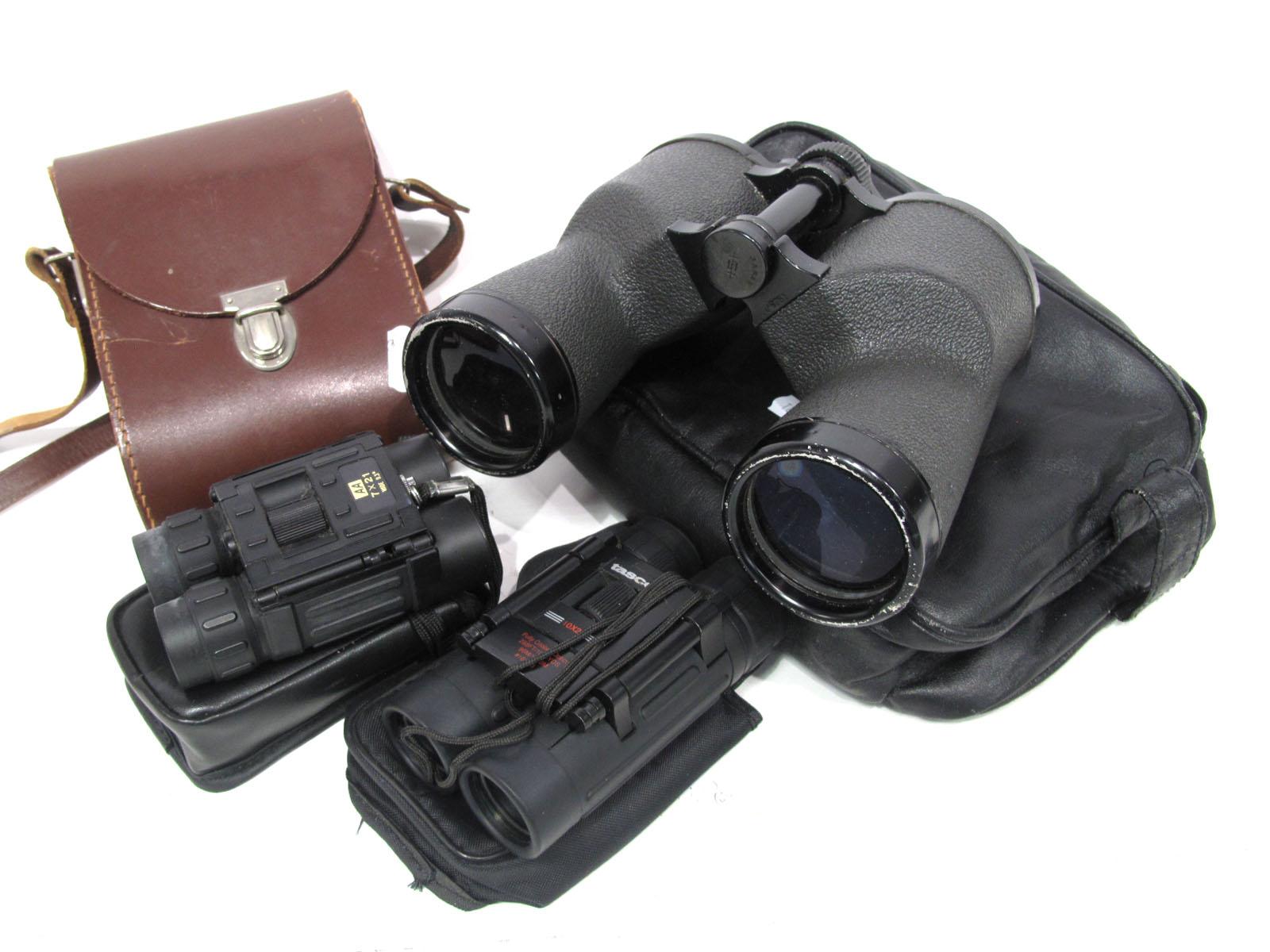 Binoculars Hertz and Richter, 10 x 50 No.85863, Tasco 10 x 25, fully coated, AA 7 x 21 wide 9.3i,