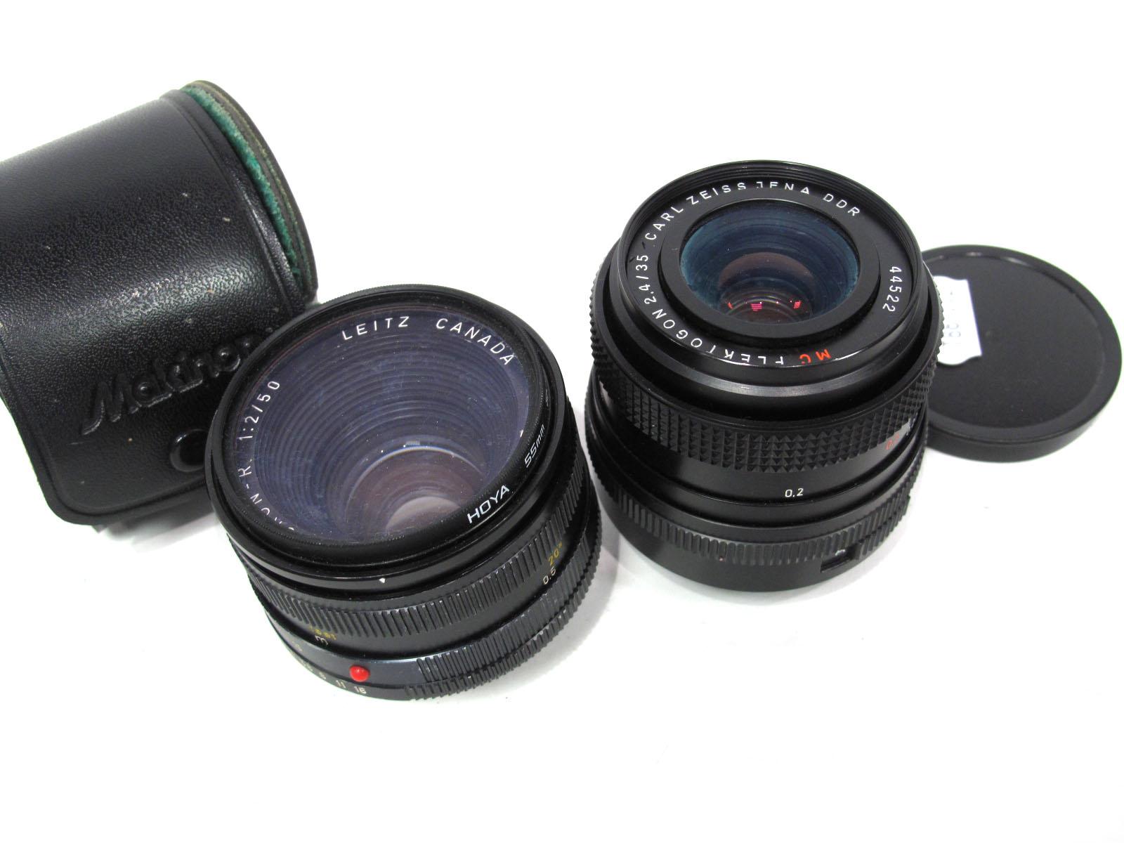 Carl Zeiss Jena DDR Flektogon 2.4/35, Leitz Summicron - R 1.2/50 lens in case. (2)