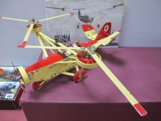 A Meccano Based Model of a Three Engine Gyro-Copter, two crew, finished in red/cream with German