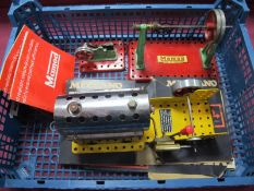 A 1970 Meccano Steam Engine, with reverse, with burner and only minor signs of use, box, but box