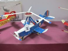 A Meccano Based Gyro-Copter, two pilots, finished in blue/white, fully repainted, except tail rudder