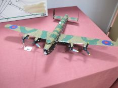 A Meccano Based Model of a Lancaster Bomber, with 'Bouncing Bomb', wingspan 71cm, fully repainted in